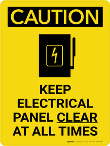 Caution: Keep Electrical Panel Clear at all Times Portrait With Icon - Wall Sign