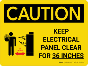 Caution: Keep Electrical Panel Clear for 36 Inches Landscape With Icon - Wall Sign