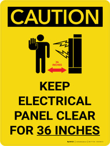 Caution: Keep Electrical Panel Clear for 36 Inches Portrait With Grahpic - Wall Sign