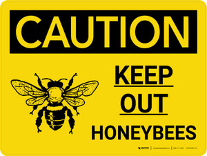 Caution: Keep Out Honeybees Landscape With Icon - Wall Sign