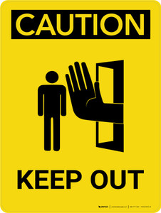 Caution: Keep Out Portrait With Icon - Wall Sign
