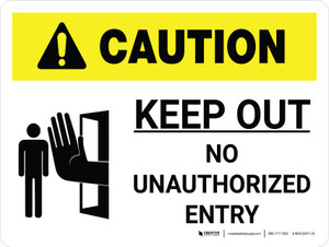 Caution: Keep Out White Landscape With Icon - Wall Sign