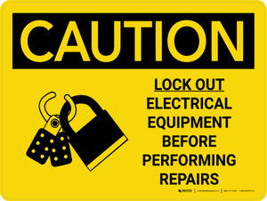 Caution: Lock Out Electrical Equipment Before Repairs Landscape With Icons - Wall Sign
