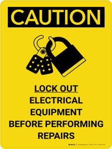 Caution: Lock Out Electrical Equipment Before Repairs Portrait With Icon - Wall Sign