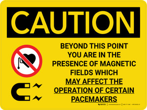 Caution: Magnetic Fields Beyond This Point May Affect Pacemakers With Icons - Wall Sign
