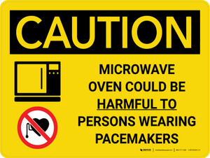 Caution: Microwave Oven Could be Harmful to Persons Wearing Pacemakers Landscape With Icons - Wall Sign