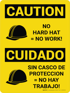 Caution: No Hard Hat No Work Bilingual Spanish With Icons - Wall Sign