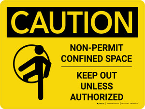 Caution: Non Permit Confined Space Keep Out Unless Authorized Landscape With Icon - Wall Sign
