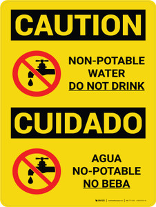 Caution: Non Potable Water Do Not Drink Bilingual Spanish With Icon - Wall Sign