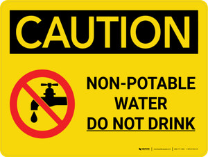 Caution: Non Potable Water Do Not Drink Landscape With Icon - Wall Sign