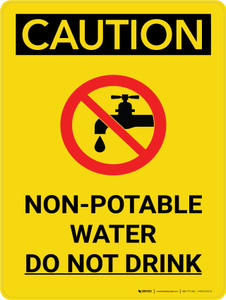 Caution: Non Potable Water Do Not Drink Portrait With Icon - Wall Sign