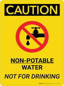 Caution: Non Potable Water Not For Drinking Portrait With Icon - Wall Sign