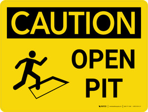 Caution: Open Pit Landscape With Icon - Wall Sign