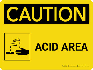 Caution: Acid Area Landscape With Icon - Wall Sign