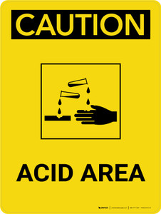 Caution: Acid Area Portrait With Icon - Wall Sign