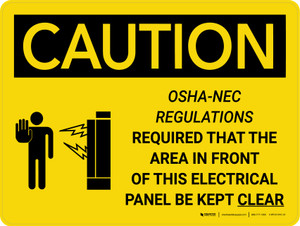 Caution: NEC Require Electrical Panel Kept Clear Landscape With Icon - Wall Sign