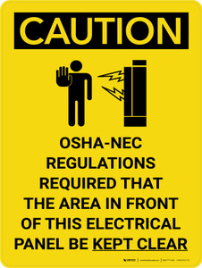 Caution: NEC Require Electrical Panel Kept Clear Portrait With Icon - Wall Sign