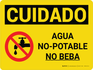 Caution: Non Potable Water Do Not Drink Spanish Landscape With Icon - Wall Sign