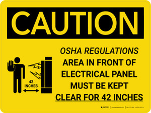 Caution: Regulations Electrical Panel 42 Inches Landscape With Icon - Wall Sign