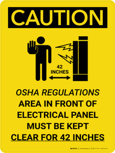 Caution: Regulations Electrical Panel 42 Inches Portrait With Icon - Wall Sign
