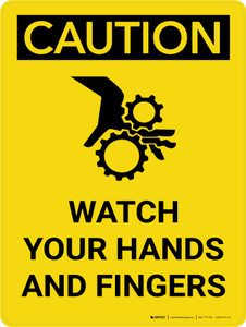 Caution: Watch Your Hands and Fingers Portrait With Icon - Wall Sign