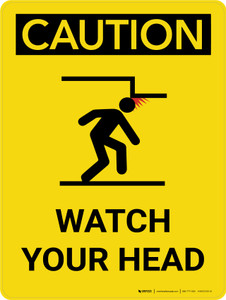 Caution: Watch Your Head Portrait with Icon - Wall Sign