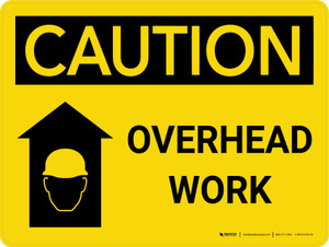 Caution: Overhead Work Landscape With Icon - Wall Sign