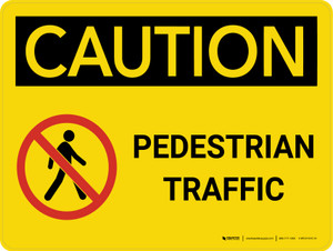 Caution: Pedestrian Traffic Landscape With Icon - Wall Sign
