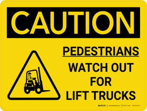 Caution: Pedestrians Watch Out For Lift Trucks Landscape With Icon - Wall Sign