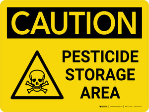 Caution: Pesticide Storage Area Landscape With Icon - Wall Sign