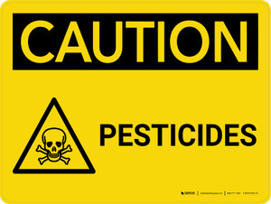 Caution: Pesticides Landscape With Icon - Wall Sign