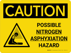 Caution: Possible Nitrogen Asphyxiation Hazard Landscape With Icon - Wall Sign