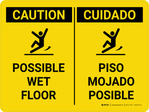 Caution: Possible Wet Floor Bilingual Spanish Landscape With Icons - Wall Sign