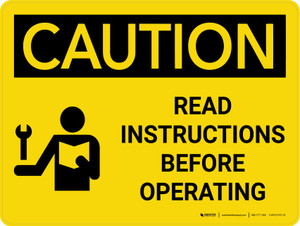 Caution: Read Instructions Before Operating Landscape With Icon - Wall Sign