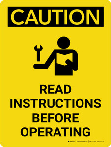 Caution: Read Instructions Before Operating Portrait With Icon - Wall Sign