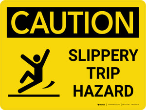 Caution: Slippery Trip Hazard Landscape With Icon - Wall Sign
