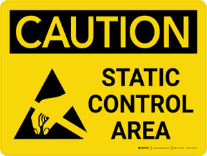 Caution: Static Control Area Landscape With Icon - Wall Sign