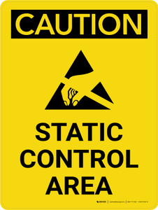 Caution: Static Control Area Portrait With Icon - Wall Sign