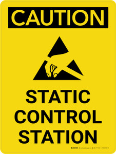 Caution: Static Control Station Portrait With Icon - Wall Sign