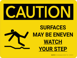 Caution: Surfaces May Be Uneven Landscape With Icon - Wall Sign