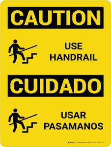 Caution: Use Handrail Bilingual Spanish With Icon - Wall Sign