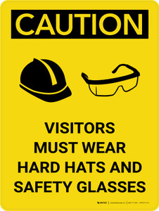 Caution: Visitors Must Wear Hard Hats Glasses Portrait With Icon - Wall Sign