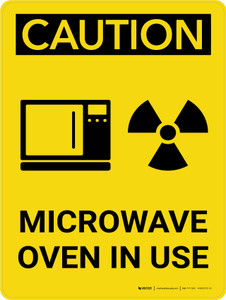 Caution: Microwave Oven In Use Portrait With Icon - Wall Sign