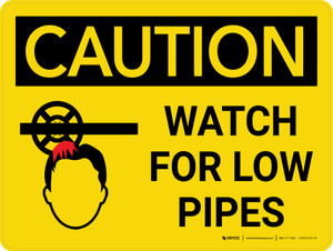 Caution: Watch Low Pipes Landscape With Icon - Wall Sign