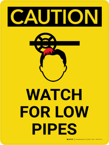 Caution: Watch Low Pipes Portrait With Icon - Wall Sign