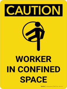 Caution: Worker In Confined Space Portrait With Icon - Wall Sign