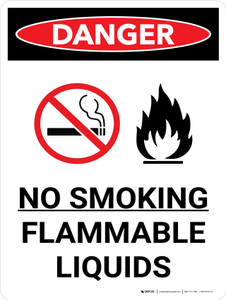 Danger: No Smoking Flammable Liquids Portrait with Icon - Wall Sign