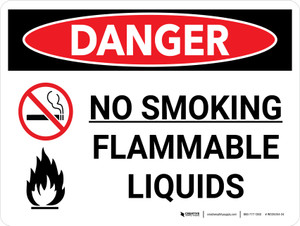 Danger: No Smoking Flammable Liquids with Icons - Wall Sign