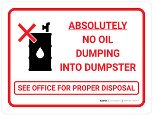 Absolutely No Oil Dumping Landscape with Icon - Wall Sign