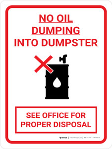 No Oil Dumping Portrait with Icon - Wall Sign - Wall Sign